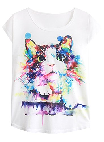 Doballa Women's Graphic Cute Cup Cat Abstract Paint Splatter Print Round Neck Tee Short Sleeve T Shirt Tops (XS/S, Ragdoll Cat) ()