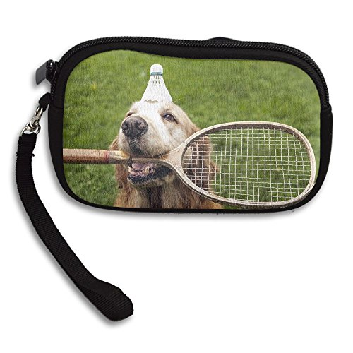 Hand-held Belt Zipper Small Wallet Golden Retriever Bite Badminton Purse Porte-monnaie Cards Holder Wallet (Golden Retriever Belt)