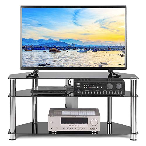 TAVR Black Tempered Glass Corner TV Stand Cable Management Suit for up to 50 inch LCD, LED OLED or Curved Screen TVs,Chrome Legs TS2002
