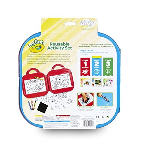 51mNQKHri L - Crayola Toddler Coloring Set, Reusable Activity Mat with Washable Crayons, Gift