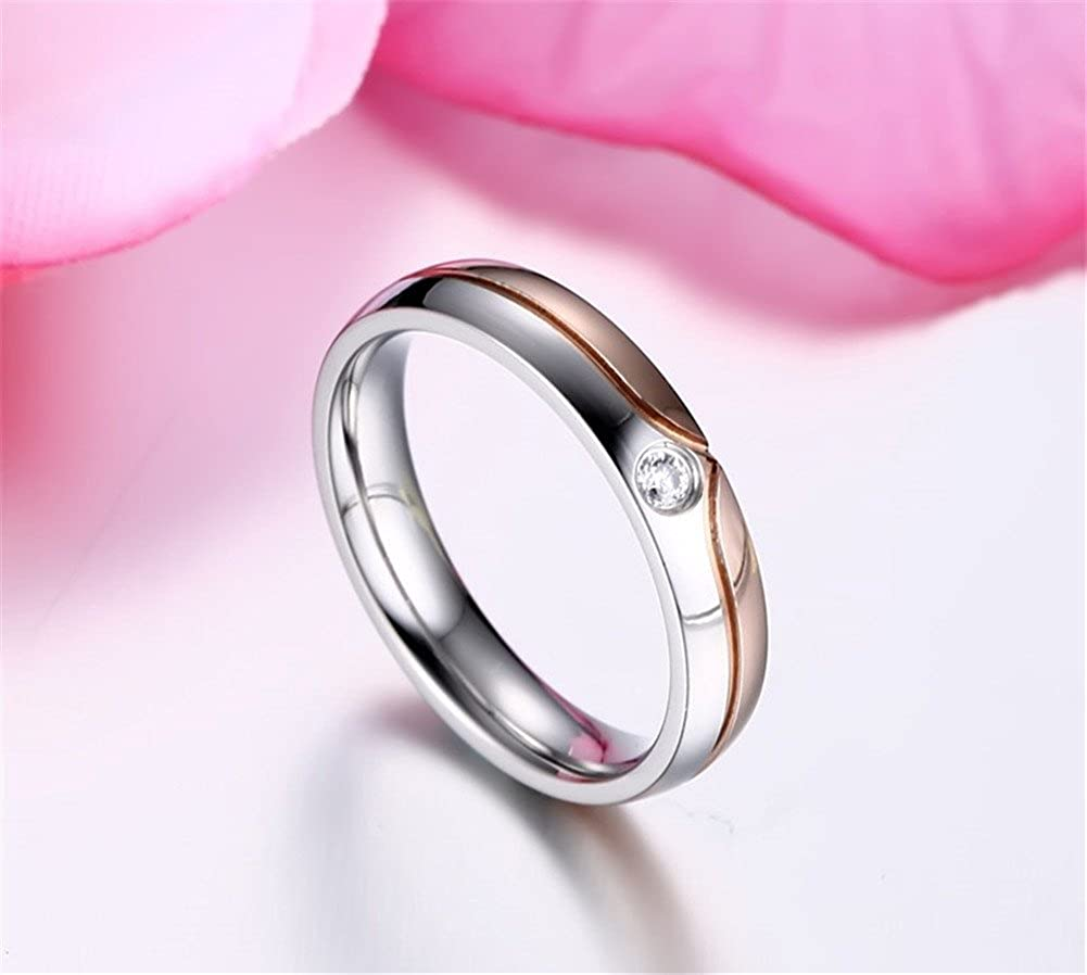 PAMTIER Wedding Ring Set Couples Matching Rings Stainless Steel ...