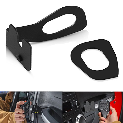 SUNPIE CB Mic Mount/Passenger Grab Bar Microphone Holder/Hand Held CB Microphone Mounting Bracket for Jeep Wrangler JK 2011-2018