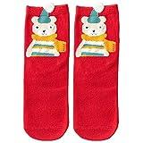 Happy Christmas - Franterd Christmas Socks Xmas Red Cute Animal Knit Thicker Anti-Slip Floor Carpet Socks Slipper Sock Sports Socks