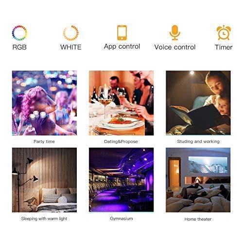 Wifi-Birne smart-Lampe meross smart wlan Lampe dimmbar LED Lampe wifi Lampe led Gl/ühbirne 700 Lumens 9W /Äquivalent zu 60W A21 E27 2700K-6500K kompatibel mit  Alexa Google Home und IFTTT