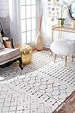 nuLOOM Moroccan Blythe Round Rug, 8′ Round, Grey
