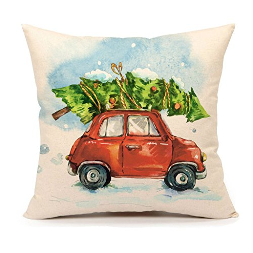 Christmas Tree and Red Truck Throw Pillow Cover Home Decorative Cushion Case 18 x 18 Inch Cotton Linen for Sofa(Cartoony Vintage)