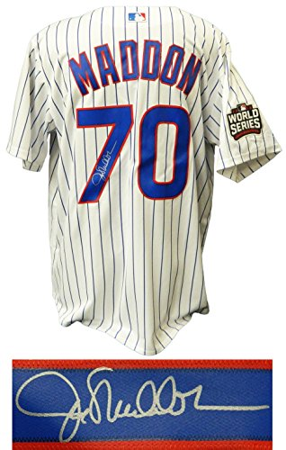 - Joe Maddon Signed Chicago Cubs White Pinstripe 2016 World Series Patch Majestic Replica Jersey