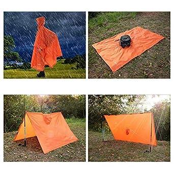 Gomerbesen 3 In 1 Pioggia Poncho Leggero Campeggio Tenda Stuoia Pioggia Cappotto Giacca Con Cappuccio Per Allaperto