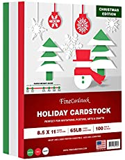 """Holiday Christmas Colored Card Stock Paper, Red, Green & White 8.5 x 11"""" Cardstock for Greetings, Gift Tags, Art & Crafts, Invitations & Announcements 
