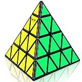 JIAAE 4X4 Pyramid Rubik's Cube Professional Competition Difficult Allotype Rubik,Black