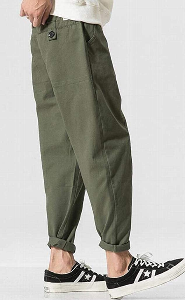 YYG Men Loose Fleece Lined Pure Color Mid Waisted Casual Pants Trousers