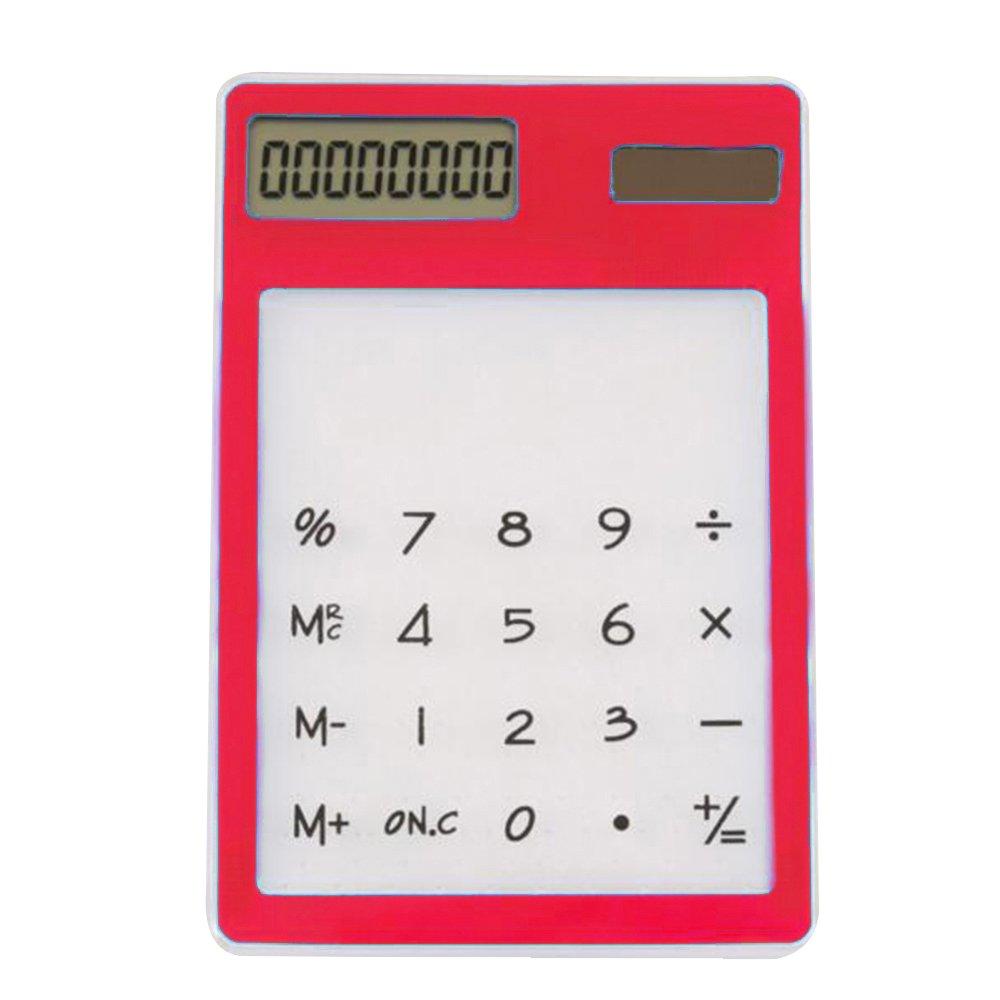 Blu Skitic Touch Screen LCD Trasparente Calcolatrice Solare Ultrasottile 8 Cifre Display Handheld Calculator Calculating Tool