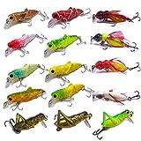 CATCHSIF 16pcs Lifelike locust and cricket tiny minnow topwater hard baits