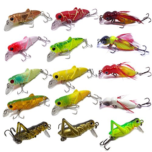 CATCHSIF 16pcs Lifelike locust and cricket tiny minnow topwater hard baits by CATCHSIF