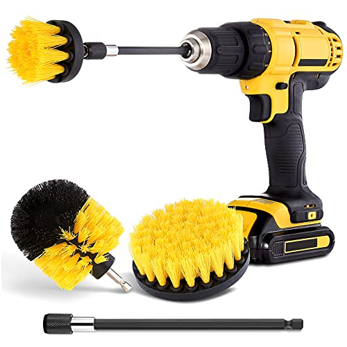 Drill Brush Attachment Set – Power Scrubber Brush Cleaning Kit – All Purpose Drill Brush with Extend Attachment for…