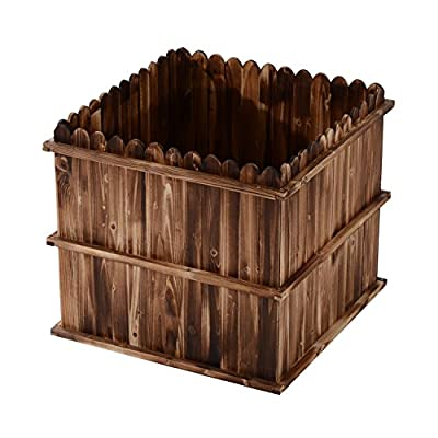 "Outsunny 31"" x 31"" x 28"" Scalloped Edge Wooden Raised Garden Box Planter"