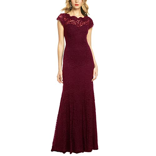REPHYLLIS Womens Retro Floral Lace Vintage Wedding Maxi Bridesmaid Long Dress