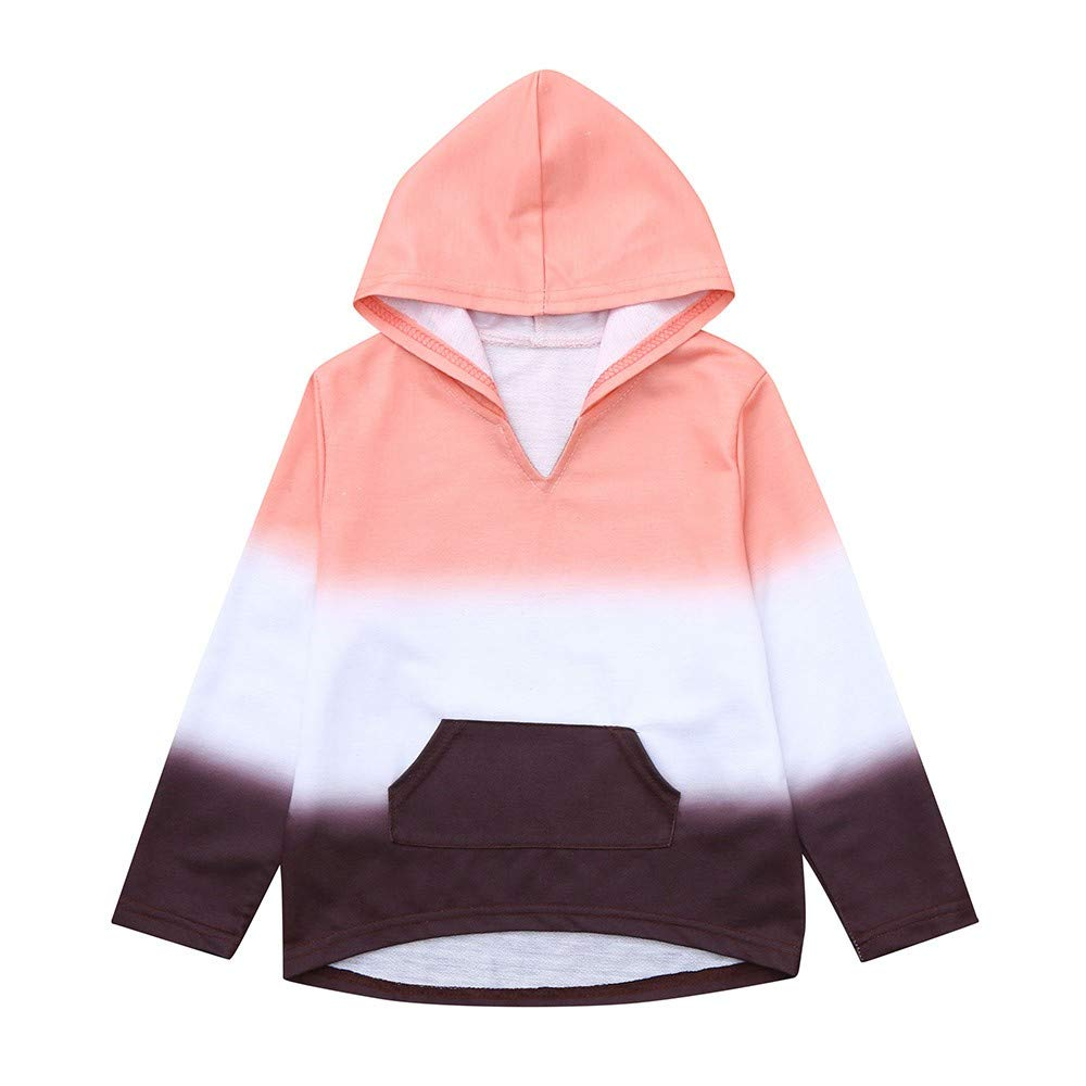 Baby Girls Gredient Color Tops, Vinjeely Long Sleeve Hooded Sweatshirt