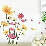 Slendima Pretty Chrysanthemum Butterfly Dragonfly Wall Sticker,Art Mural Decal Living Room Bedroom Nursery Home Decor