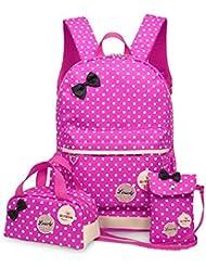 3Pcs Kids Backpack Polka Dot Toddler Carton School Bag Coin Wallet Pen Case