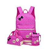 3Pcs Kid's Backpack Polka Dot Toddler Carton School Bag Lunch Bag Wallet (Rose Red)