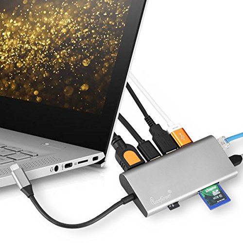 Asunflower USB C Hub, 8 in 1 Multi Port Adapter Type C to HDMI, USB 3.0 Ports, SD Card Reader, Ethernet Port, Type-C PD Charging Port, Combo Hub for MacBook Pro, Chromebook and USB C Devices by Asunflower (Image #5)