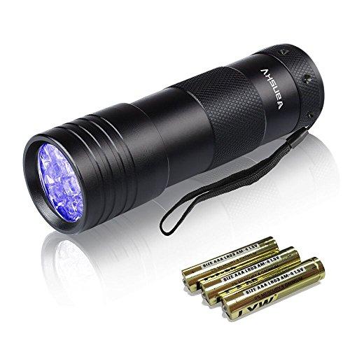 Vansky® UV Lampe 12 Led UV Taschenlampe Schwarzlichtlampe Urinflecken detektor Hund / Katze Fleckenentferner, finden chemische Flecken auf Teppichböden, Teppiche, Boden. 3 x AAA Batterien im Lieferumfang enthalten