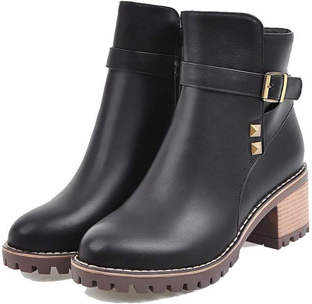 WeiPoot Womens Zipper Kitten-Heels Pu Solid Ankle-High Boots EGHXH126154
