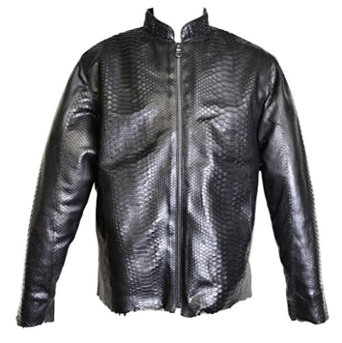 Dark 8 Fabric Finished Python Skin Biker Jacket (M)