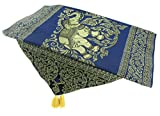 Blue Orchid Thai Table Runner Elephant with Tassels Embroidered Gold Elegant Bed Scarf Large 19'' x 76''