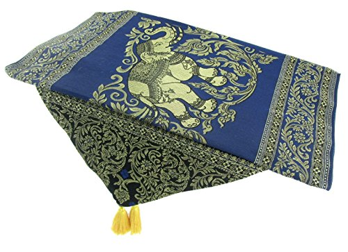 Blue Orchid Thai Table Runner Elephant with Tassels Embroidered Gold Elegant Bed Scarf Large 19'' x 76'' by Blue Orchid