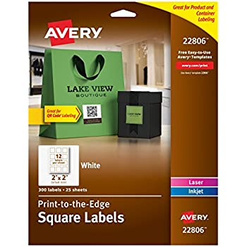 "Avery Easy Peel Print-To-The-Edge, Permanent White Square Labels with True Block, 2 ""x 2"", Pack of 300 (22806)"