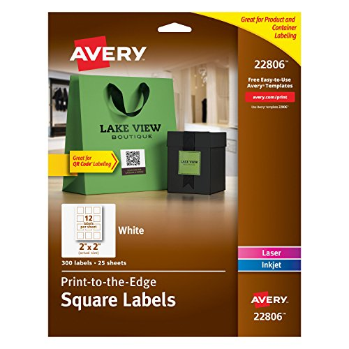 Avery Media Labels (Avery Permanent Square Label, White, Inkjet/Laser, 2 x 2-Inches, Pack of 300)