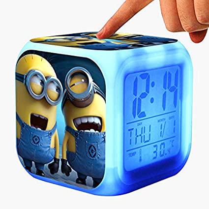 DO HUYEN Kids Alarm Clock Glowing LED Light 7 Color Change Cartoon Digital Clock Children Toys