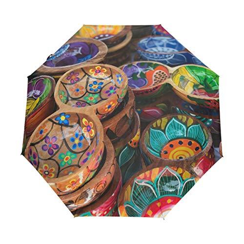 Mr.Lucien Close-Up of Beautiful Ceramic Bowl Japanese Style Photo Folding Umbrella Auto Open Close Windproof Strong Light Weight Decorating Umbrella ()