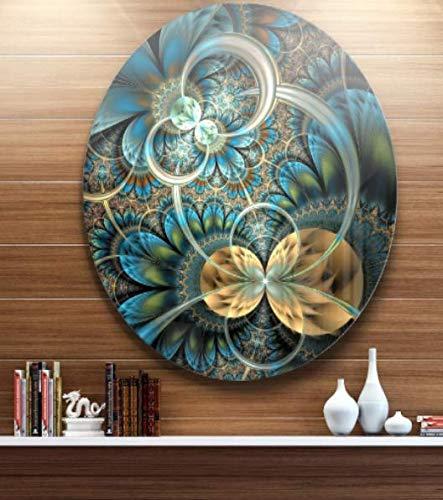 Symmetrical Blue Gold Fractal Flower Art Circle Metal Wall Artisan made - Art Flowers Fractals