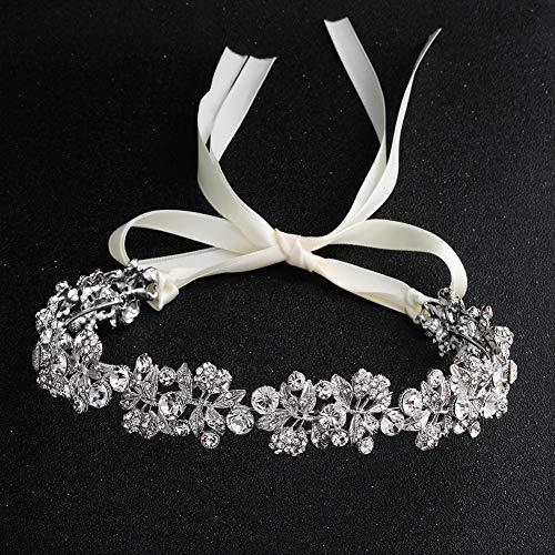 Classic Baroque Bridal Rhinestone Leaf Tiara Headdress High-grade Wedding Crystal Bride Headpieces Crown Headband Hairband With Lace Ribbon (Silver)