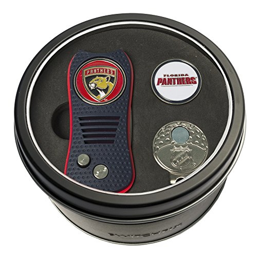 Team Golf NHL Florida Panthers Gift Set Switchblade Divot Tool, Cap Clip, & 2 Double-Sided Enamel Ball Markers, Patented Design, Less Damage to Greens, Switchblade Mechanism
