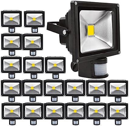20pcs 20W Foco LED con Sensor Movimiento,ALPHA Foco Proyector con Iluminación LED y PIR