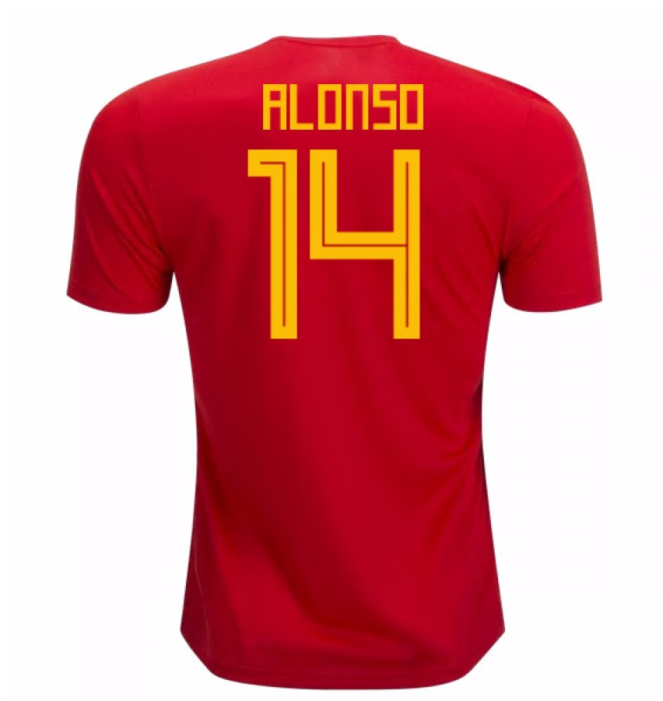 2018-19 Spain Home Football Soccer T-Shirt Trikot (Xabi Alonso 14) - Kids