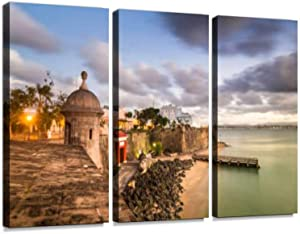 San Juan Puerto Rico 3 Pieces Print On Canvas Wall Artwork Modern Photography Home Decor Unique Pattern Stretched and Framed 3 Piece