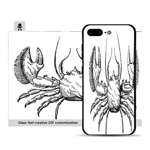 iPhone 7p / 8p Ultra-Thin Phone case Antique Illustration of (Broad Clawed) Porcelain Crab Porcellana platycheles Resistance to Falling, Non-Slip, Soft, Convenient Protective case