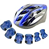 YAKOK Kids Helmet Set, 7pcs Kids Helmet Safety with Protective Gear Set for Bike Scooter Skateboard Skate for Child Boys and Girls, 3-12 Years Old (Blue)