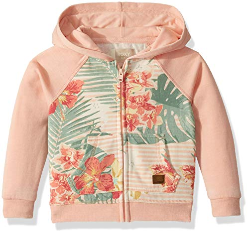 - Roxy Girls' Little Banana Pancakes Print Zip Up Hooded Fleece Top, Tropical Peach Uluwatu Stripe 7
