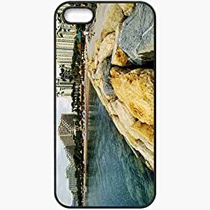 Protective Case Back Cover For iPhone 5 5S Case Coast Stones Water Home Resort Black