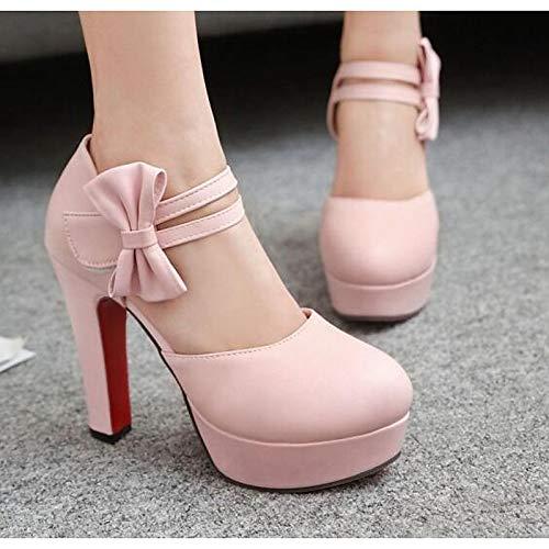 Spring Heels Comfort ZHZNVX Poliuretano Heel Fall Basic PU Black Pump Stiletto Mujer Negro Zapatos Rosa amp; Blanco de wBqB8XP