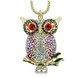 Perched Owl Swarovski Crystal Necklace