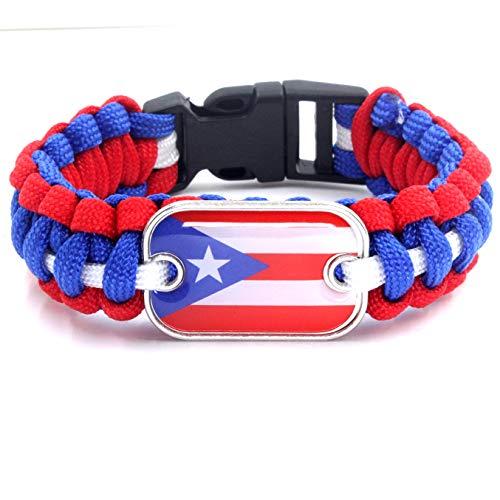 YUANOMSL Umbrella Bracelet,Rectangular Puerto Rico Flag Art Outdoor Lifesaving Parachute Camping Bracelet Bracelet Unisex Europe and America Gift Bracelet Personal Wrist