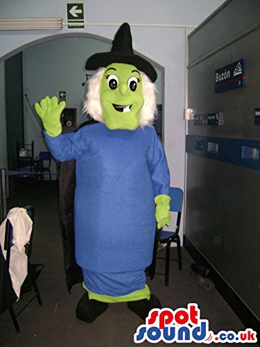 Female Mascot Costumes (Witch woman SPOTSOUND US Mascot Costume with blue dress and a black pointed hat)