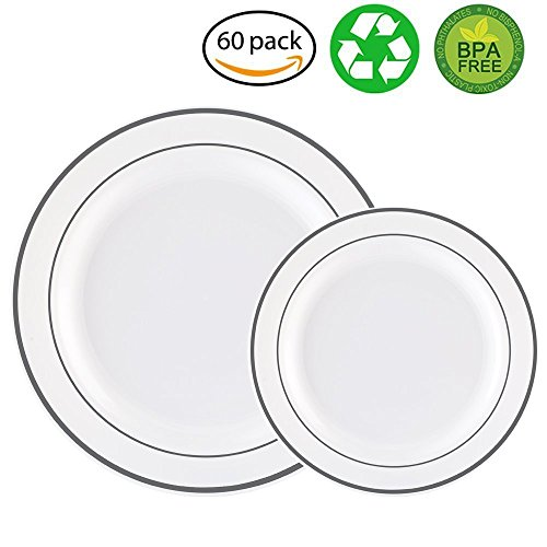 Service Rim Plate - 60PCS Heavyweight White with Silver Rim Wedding Party Plastic Plates,China Plastic Plates,30-10.25inch Dinner Plates and 30-7.5inch Salad Plates -WDF (White/Silver Rim)
